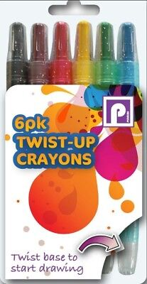 Crayons Twist Up 6 Pack Colouring Childrens Arts & Crafts Xmas Stocking Filler