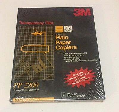 3M Transparency Film PP2200 100-sheets NEW SEALED for Copiers