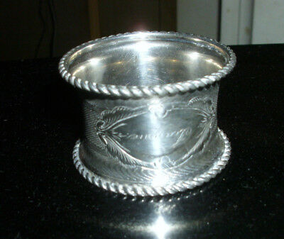 Antique Silverplate Napkin Ring Embossed With Etched Name Jeannie