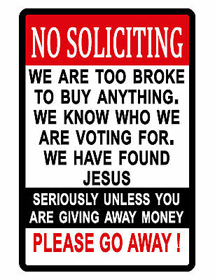 NO SOLICITING Sign NO TRESPASSING SIGN DURABLE ALUMINUM FULL COLOR NO RUST...