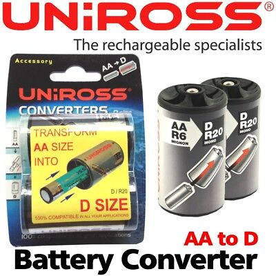 2 x Uniross AA to D Battery Size Converters Adapter Transformer Case NEW