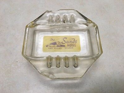 Vintage The Sands Octagon Octagonal Glass Ashtray 6 Slot Hotel Las Vegas Nevada