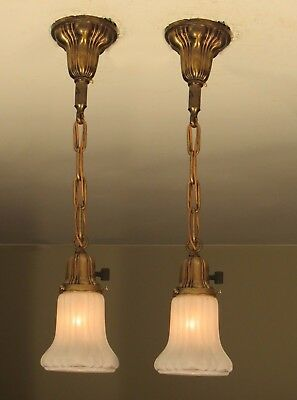 Great Matching Pair of Antique Brass Sheffield Light Fixtures - Restored!