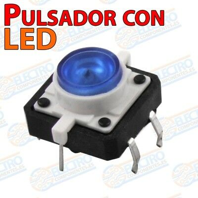 Pulsador NO 12x12x7mm con LED AZUL - Arduino Electronica DIY