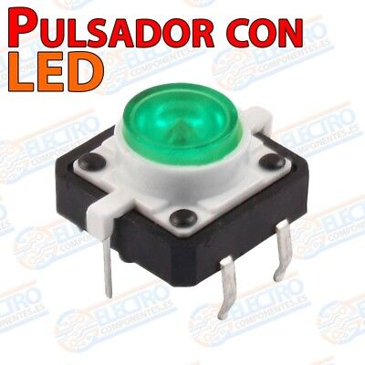 Pulsador NO 12x12x7mm con LED VERDE - Arduino Electronica DIY