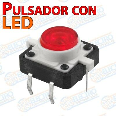 Pulsador NO 12x12x7mm con LED ROJO - Arduino Electronica DIY