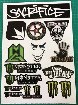 Stunt Scooter mgp sacrifice Decal Drink Sheet of Stickers Decals 16stickers