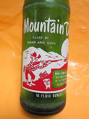 Mountain Mtn Dew Filled By Frank And Glen 1965 Hillbilly Glass Bottle By Pepsi