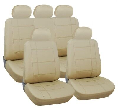 Jaguar X-Type Saloon 01-10 Luxury Leather Look Full Seat Cover Set Beige