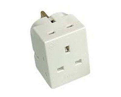 2X New 3 Way Socket Household Multi Plug Adapter Uk Main 13Amp 250V Ac 3 Socket