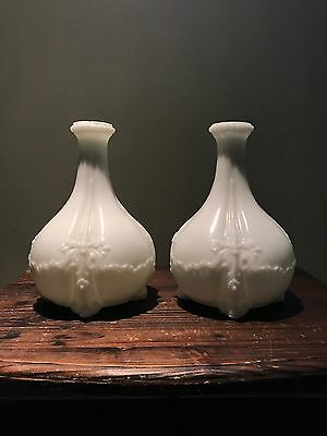 Pair of Very Rare Antique White Milk Glass Vases - Collector Grade Glass Set