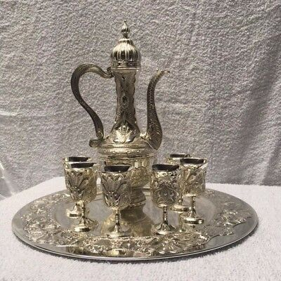Quality Decorative Silver Plated Aftaaba/Water Jug Goblet set+Tray and 6 Cups