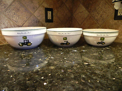JOHN DEERE Stoneware Mixing Bowl Collection Set 3 Tractor Cooking Serving White