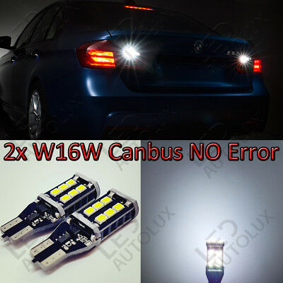 2x W16W T15 921 Rear 15 SMD LED Canbus REVERSE WHITE Lamps Light Bulbs For BMW
