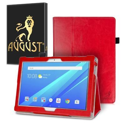 Genuine August® Red Luxury PU Leather Smart Case Cover For Lenovo Tab 4 10