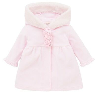 Girls Traditional Spanish Style Pink Fleece Faux Fur Hooded Jacket 0-24 Months