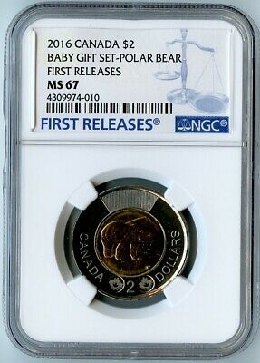 2016 Canada Ngc First Releases Ms67 Baby Gift Set-Polar Bear $2! Top Pop=3!