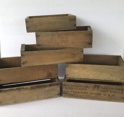 Lot of 7 Assorted Wood Wooden Crates Boxes Montgomery Ward Ammunition Crate