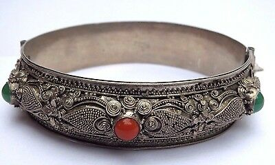 Antique Estate Chinese Export Silver Bangle Bracelet
