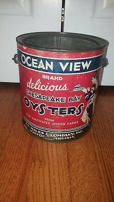 Vintage Ocean View Brand Oyster Can Tin Gallon Size with Bail Handle
