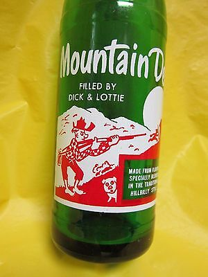Mountain Mtn Dew Filled By Dick And Lottie 1964 Hillbilly Glass Bottle By Pepsi