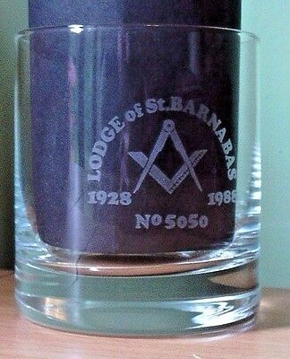 Masonic Lodge Of St. Barnabas No 5050 1928 - 1988 Etched Glass Tumbler - New