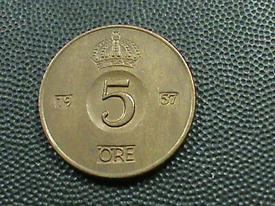 SWEDEN    5  Ore    1957    ALMOST  UNCIRCULATED