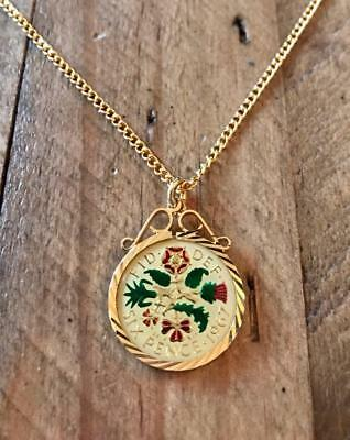 Vintage Enamelled Sixpence Coin 1967 Pendant & Necklace. 50Th Birthday Gift