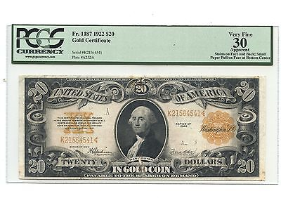 $20 Gold Certificate 1922 PCGS VF 30