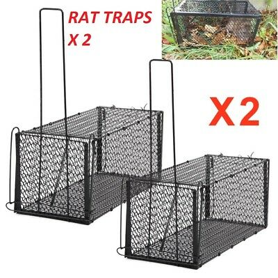 2 x XL Squirrel  Rat Catcher  Rodent Metal Traps Mouse Cage Indoor Outdoor