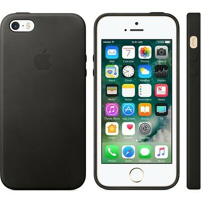 APPLE BRAND Leather case for iPhone 5 SE - BLACK - NEW IN BOX!!