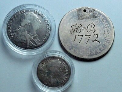 3 X Silver British Old Coins Shilling Groat Half Crown Charles Ii Collection