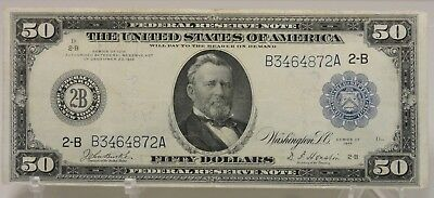 series of 1914 $50 United Stated Federal Reserve Note, B3464872A, New York