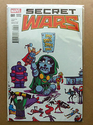 Secret Wars (2015) #1 Skottie Young Variant Cover First Printing Nm Near Mint