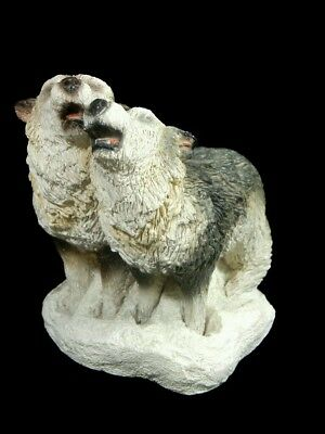 Stone Critters Howling Wolf Pair Wolves Call The Wild Figurine 1995