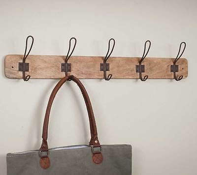 Country Rustic Wood Entry Way Wall Coat Rack w/ 5 metal hooks Farmhouse Decor