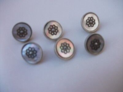 """Antique Buttons STUNNING 5/8"""" Set of 6 Art Deco 1920's Iridescent Silver Clasp"""