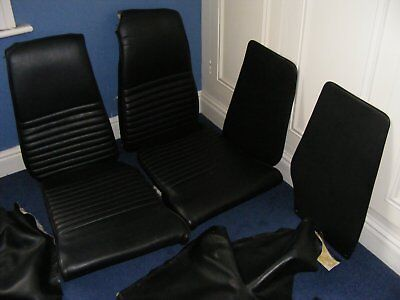 Triumph GT6 MKII Black Vinyl Seat Covers, Low Back with Foam
