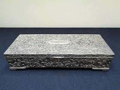 Beautifully Ornate Engraved (Inc Bottom) Silver Plated Footed Jewellery Box