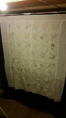 "Vintage Hand Embroidered 48 States Quilt Top 64"" by 77"" Patchwork Blocks Squares"