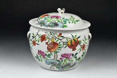 19th / 20th Century Chinese Porcelain Covered Serving Bowl w/ Calligraphy