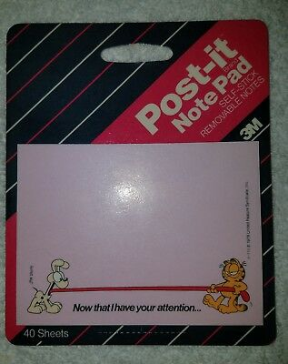 Vintage Garfield Post It Note Pad Paper Memo 3M