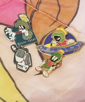 """Vintage Lot of 90's Looney Tunes Marvin the Martian Enamel Pins """"Error This"""""""