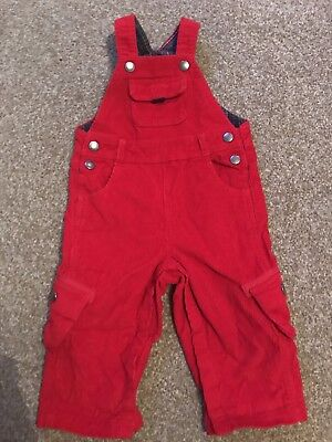 JoJo Maman Bebe Baby Boys Red Dungarees Size 12-18 Months