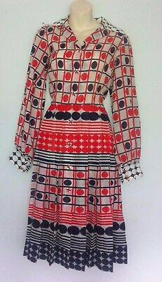 retro 70s style geek secretary Mad Men graphic polka dot dress 12