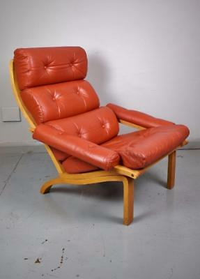Mid Century Retro Danish Red Leather & Beech Bentwood Lounge Armchair 1970s