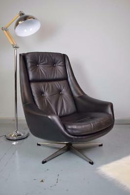 Mid Century Retro Danish H.W. Klein for Bramin Black Leather Swivel Lounge Chair