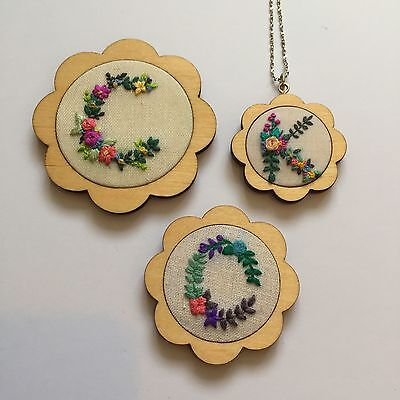 Scalloped Mini Embroidery Hoops 3 sizes & finishes