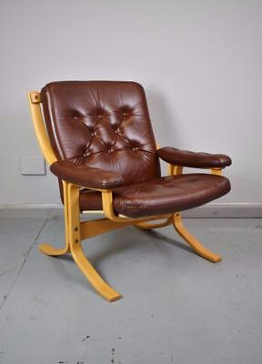 Mid Century Retro Danish Brown Leather & Beech Bentwood Lounge Armchair 1970s