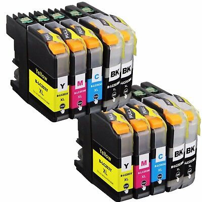 10Pk Non-Oem Ink Cartridge Brother Lc-203 Xl Mfc-J4320Dw J4420Dw J4620Dw J5520Dw
